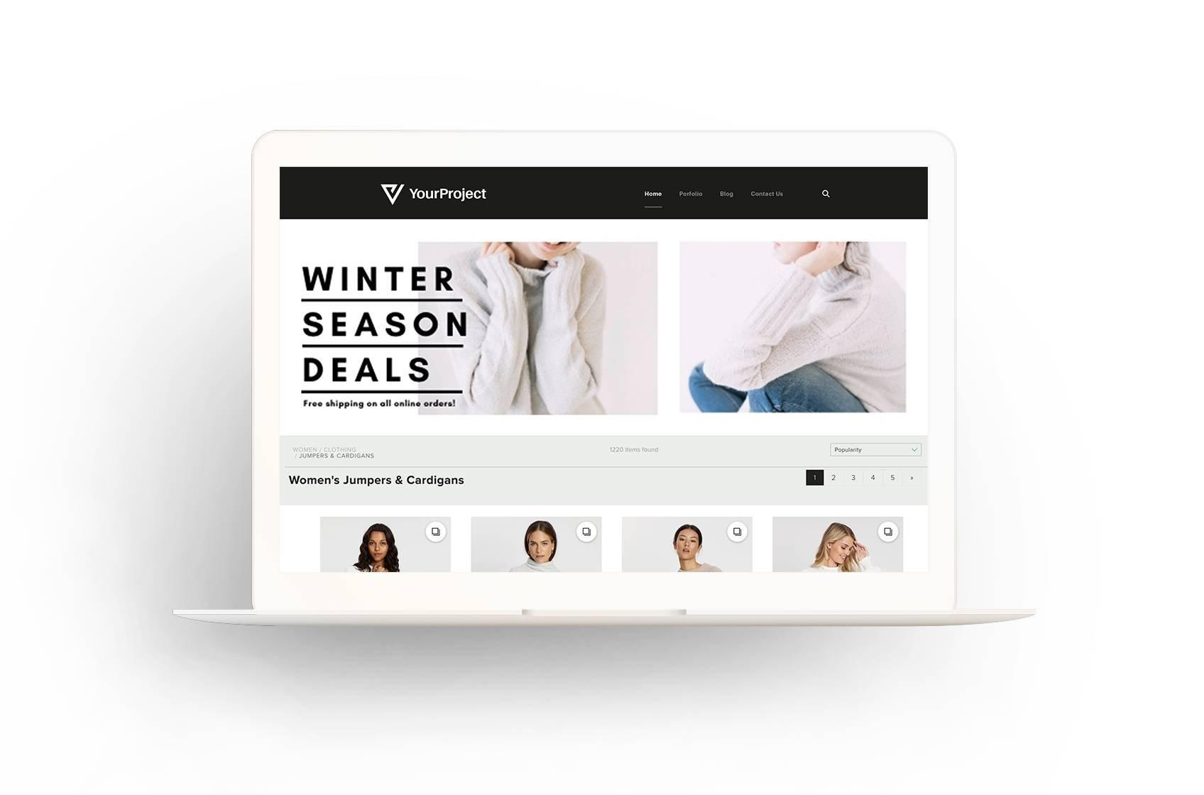 衣料品のウェブサイトに、売り出しを宣伝する目を引くバナーを表示できます。