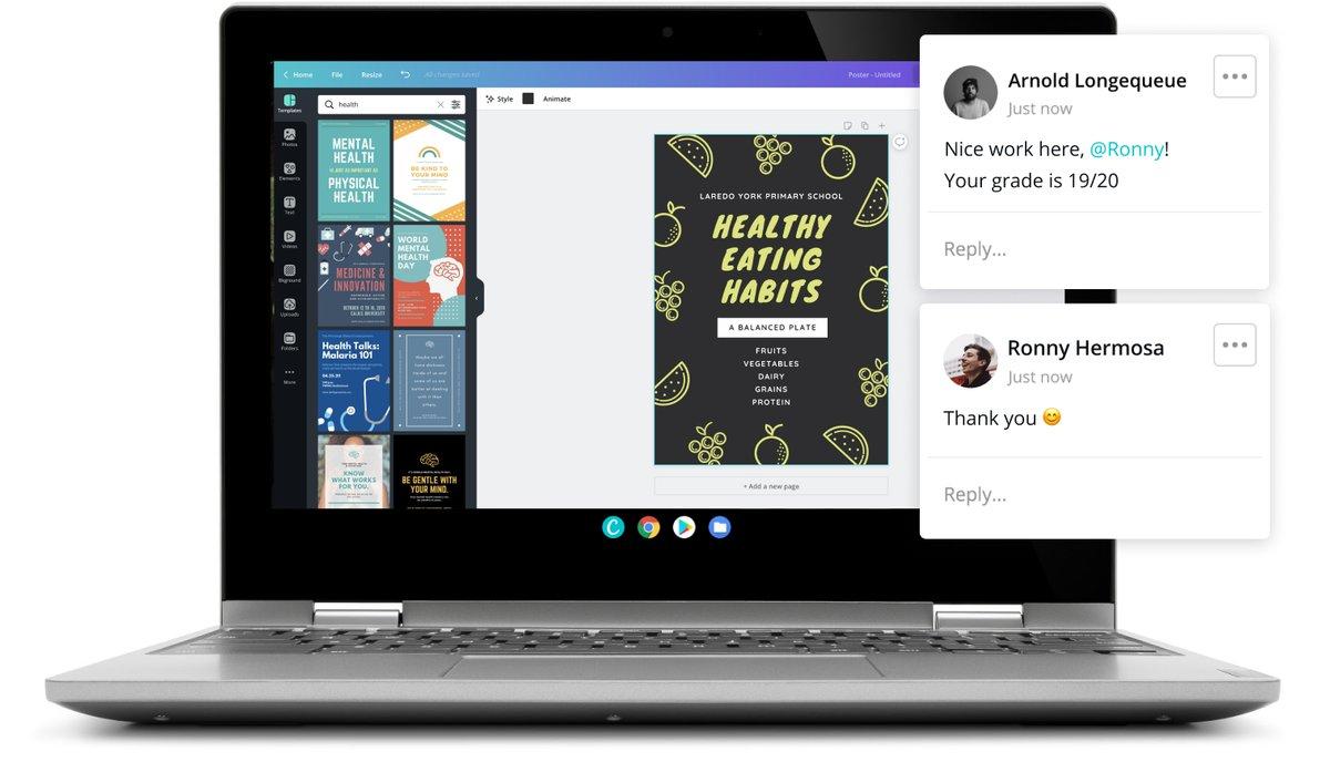 Два iPad, на которых отображается вид класса и дизайн плаката в Canva для образования