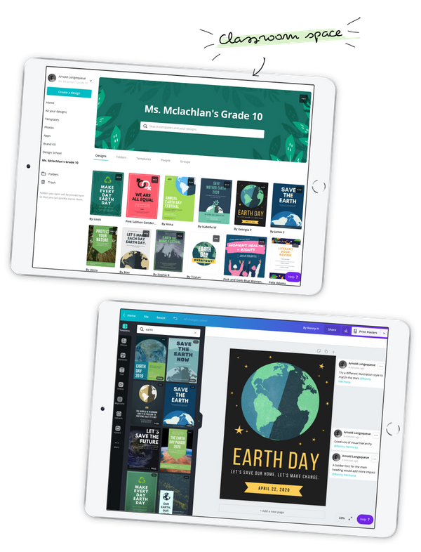 两台iPad,显示Canva教育版教室视图和海报设计