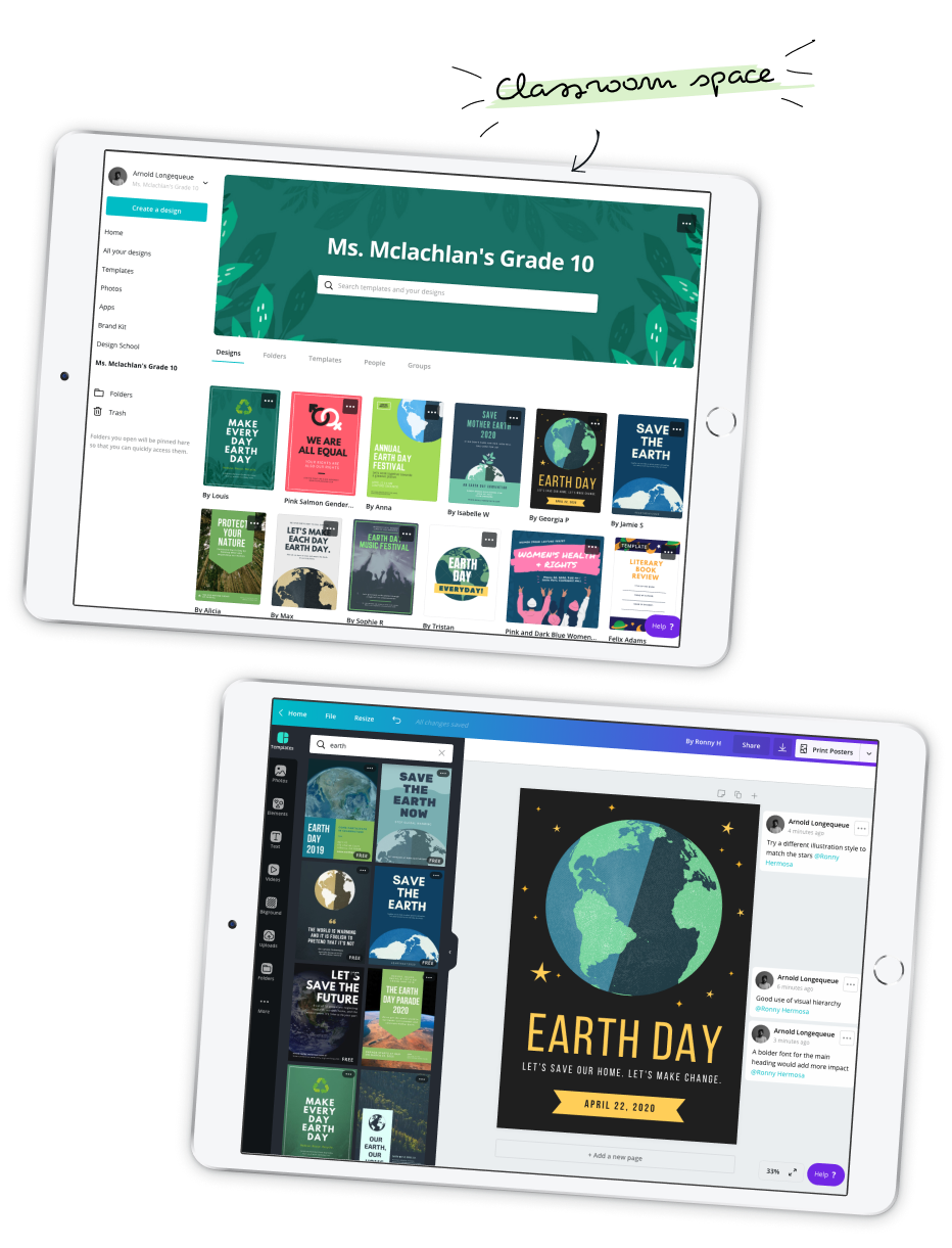 Two iPads showing Canva for Education classroom view and a poster design
