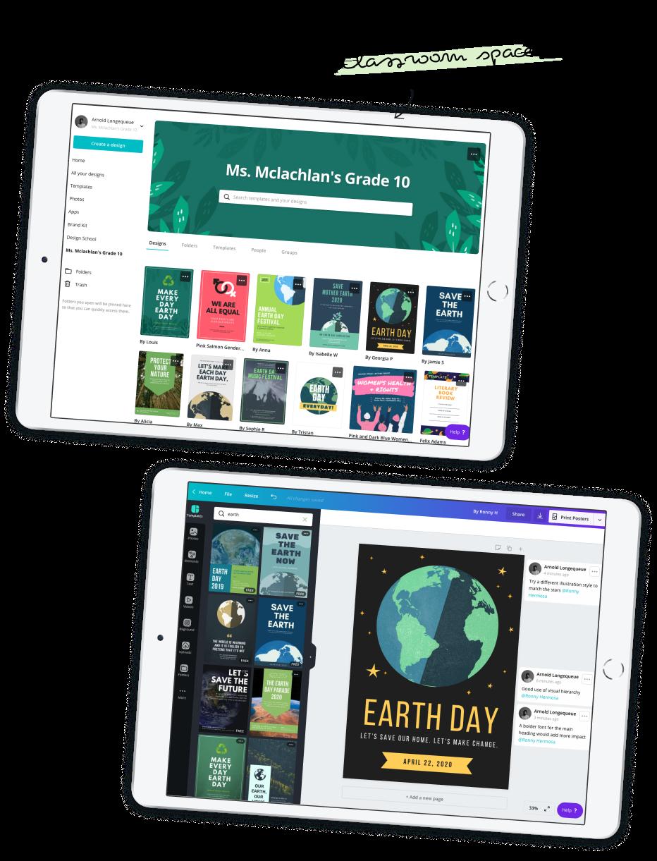 Dois iPads mostrando a visualização de sala de aula do Canva for Education e o design de um cartaz