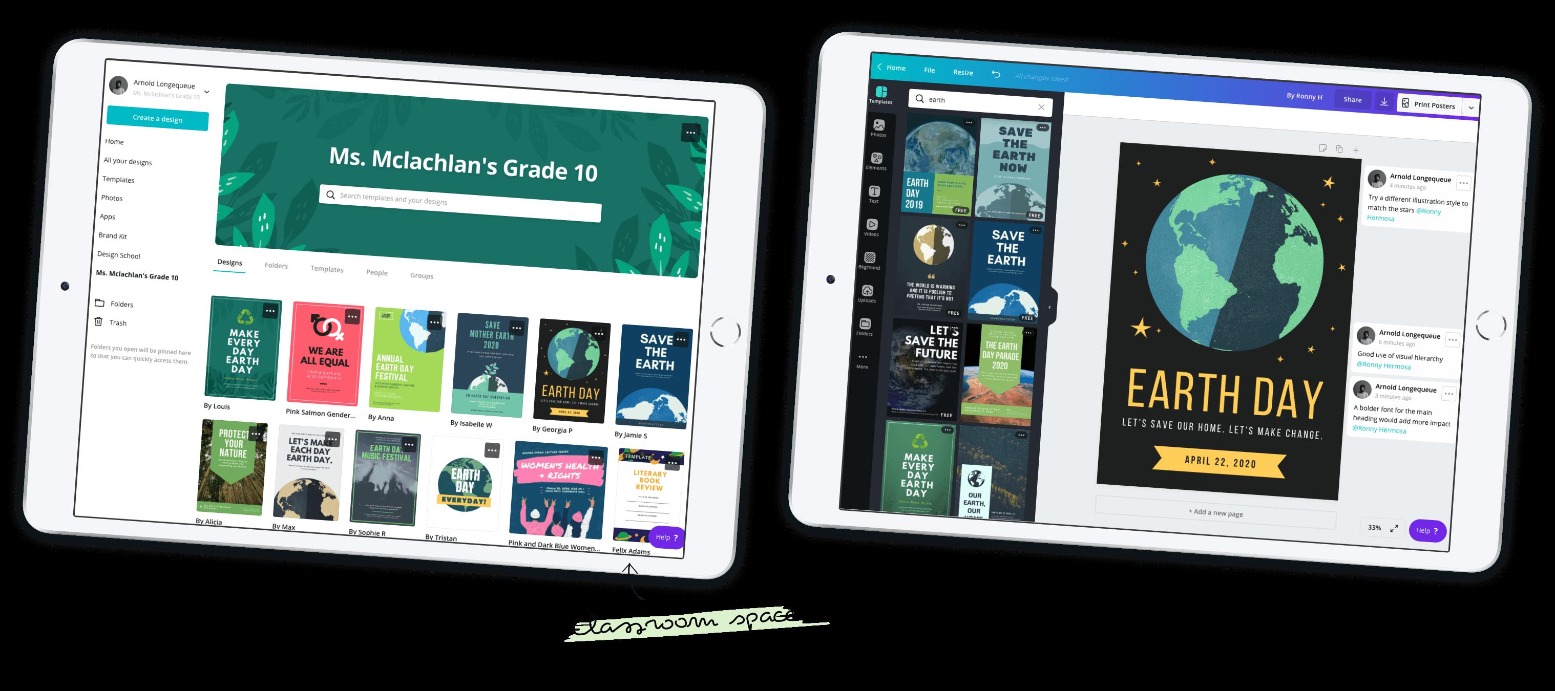 Два iPad із зображенням класної кімнати Canva для навчання і дизайном плаката