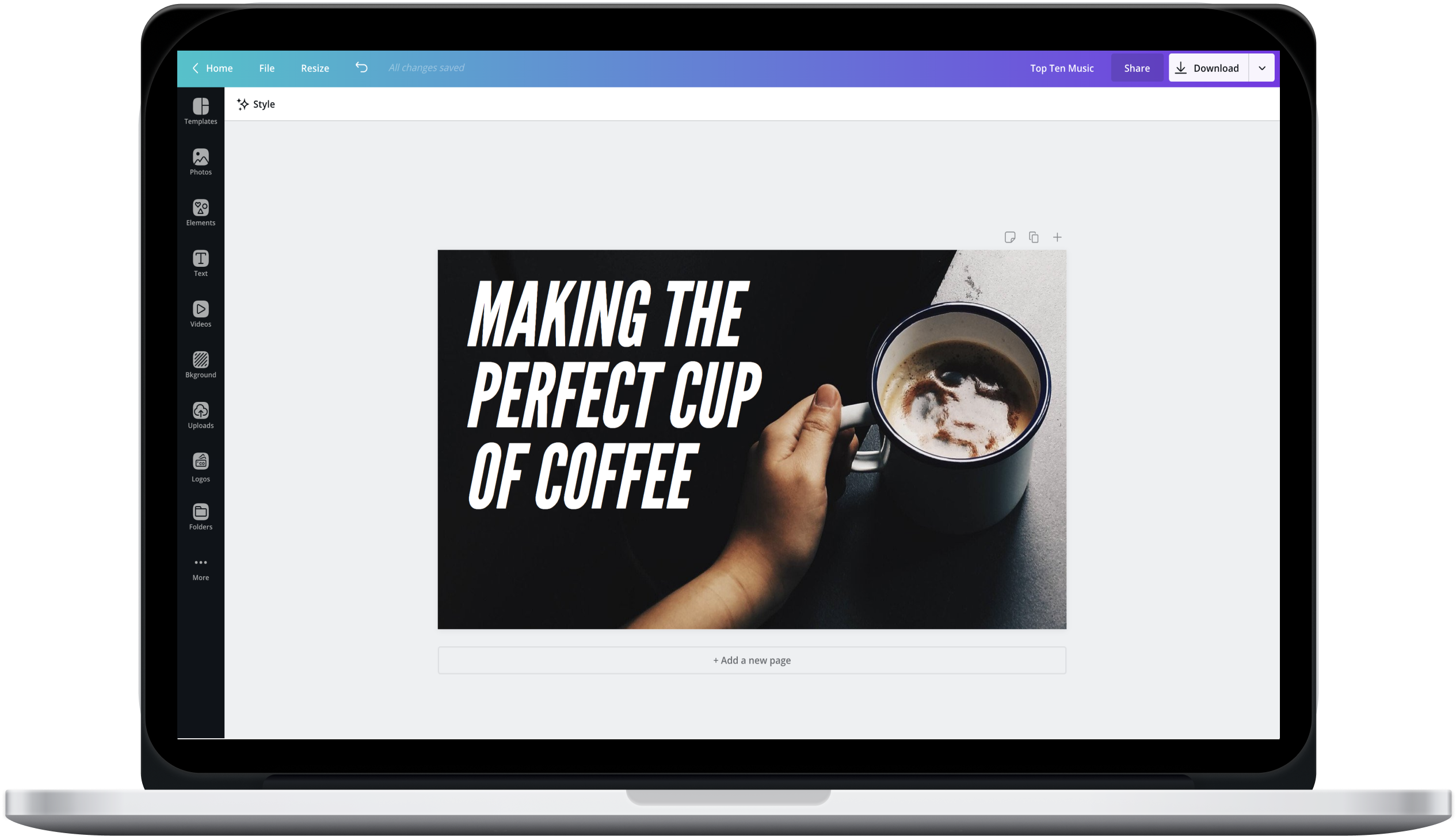 Canva editor showing a YouTube channel art design