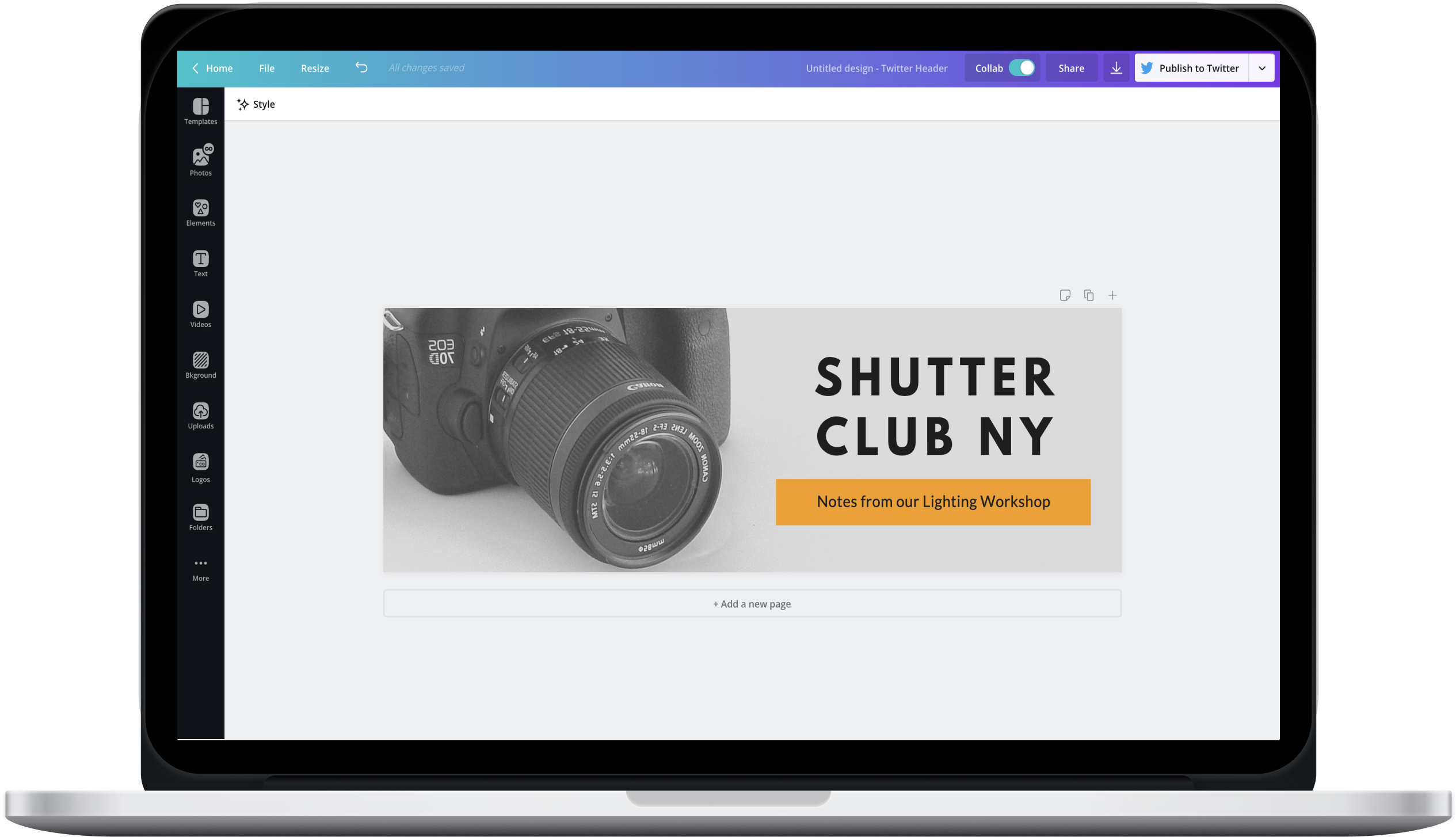 Canva editor showing a photography Twitter header design