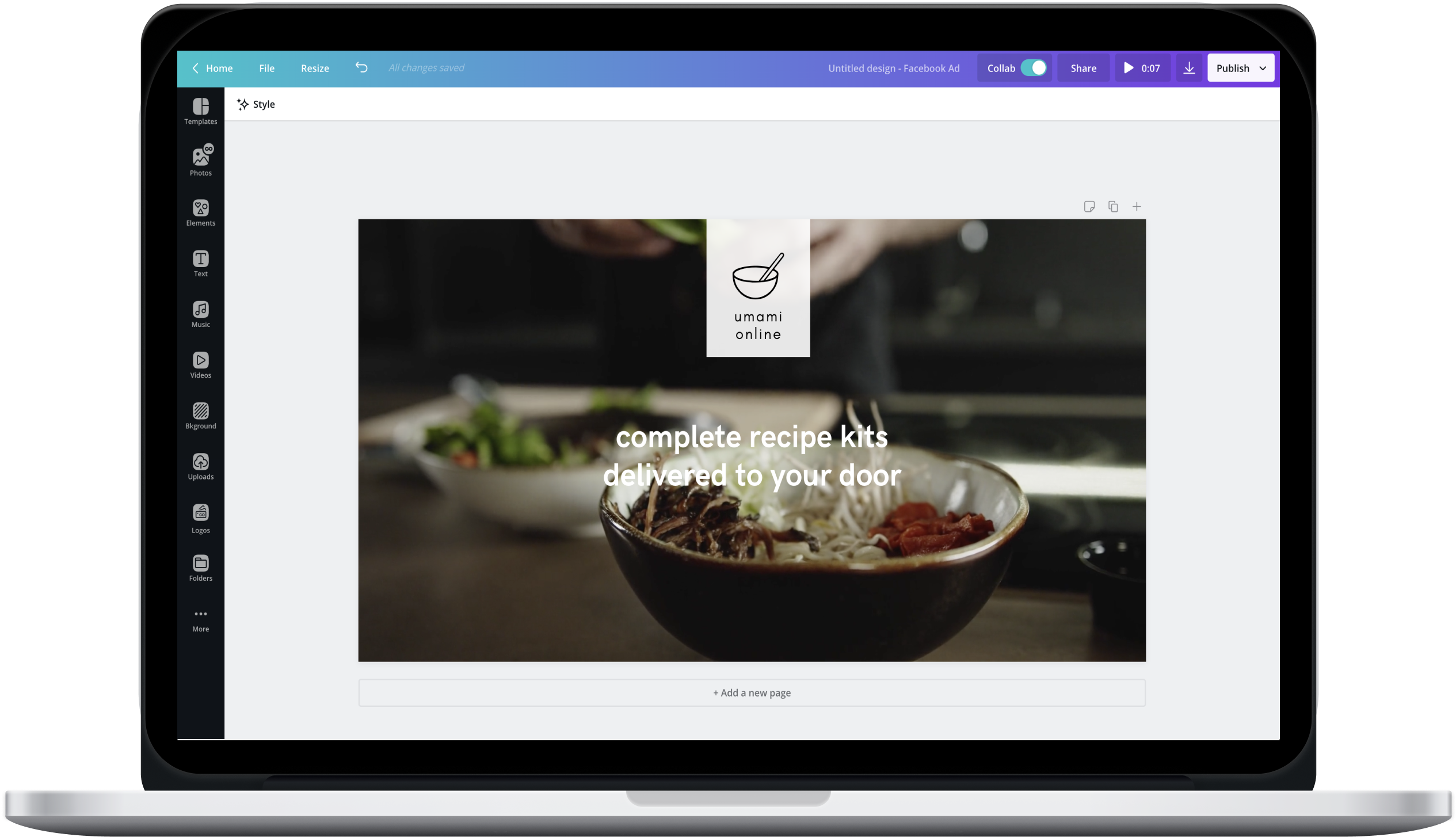 Canva editor showing a recipe kit Facebook ad design