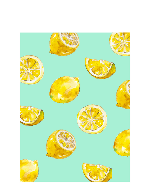 Blue and Yellow Lemon Illustration Food and Drink Illustration T-Shirt