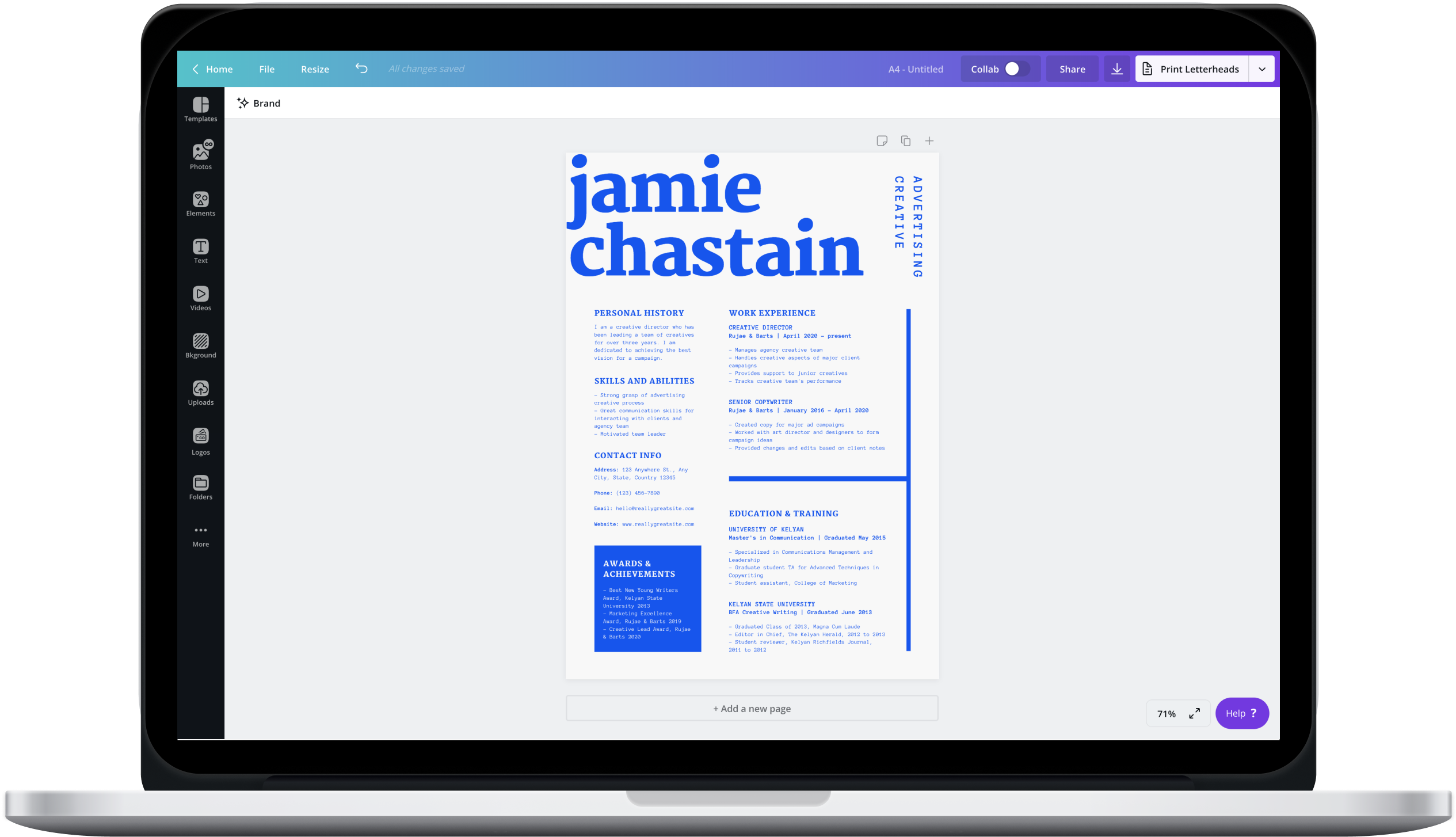 Canva editor showing a blue resume design