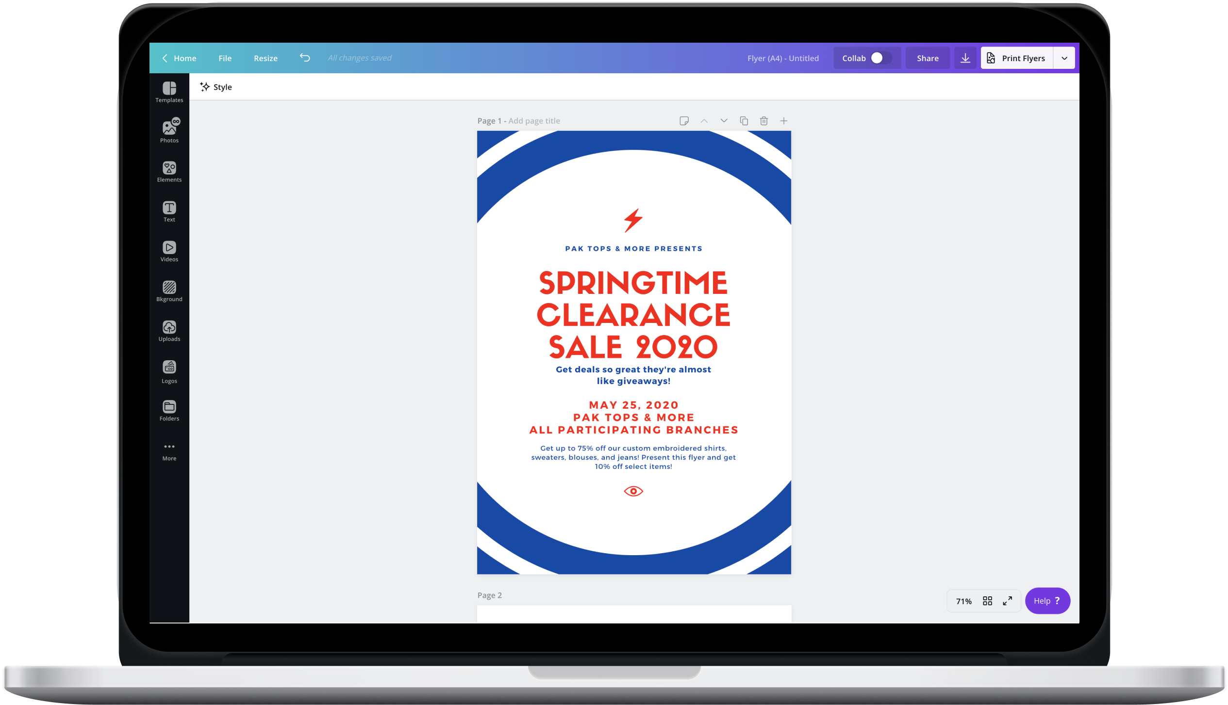 Canva editor designing a sale event flyer