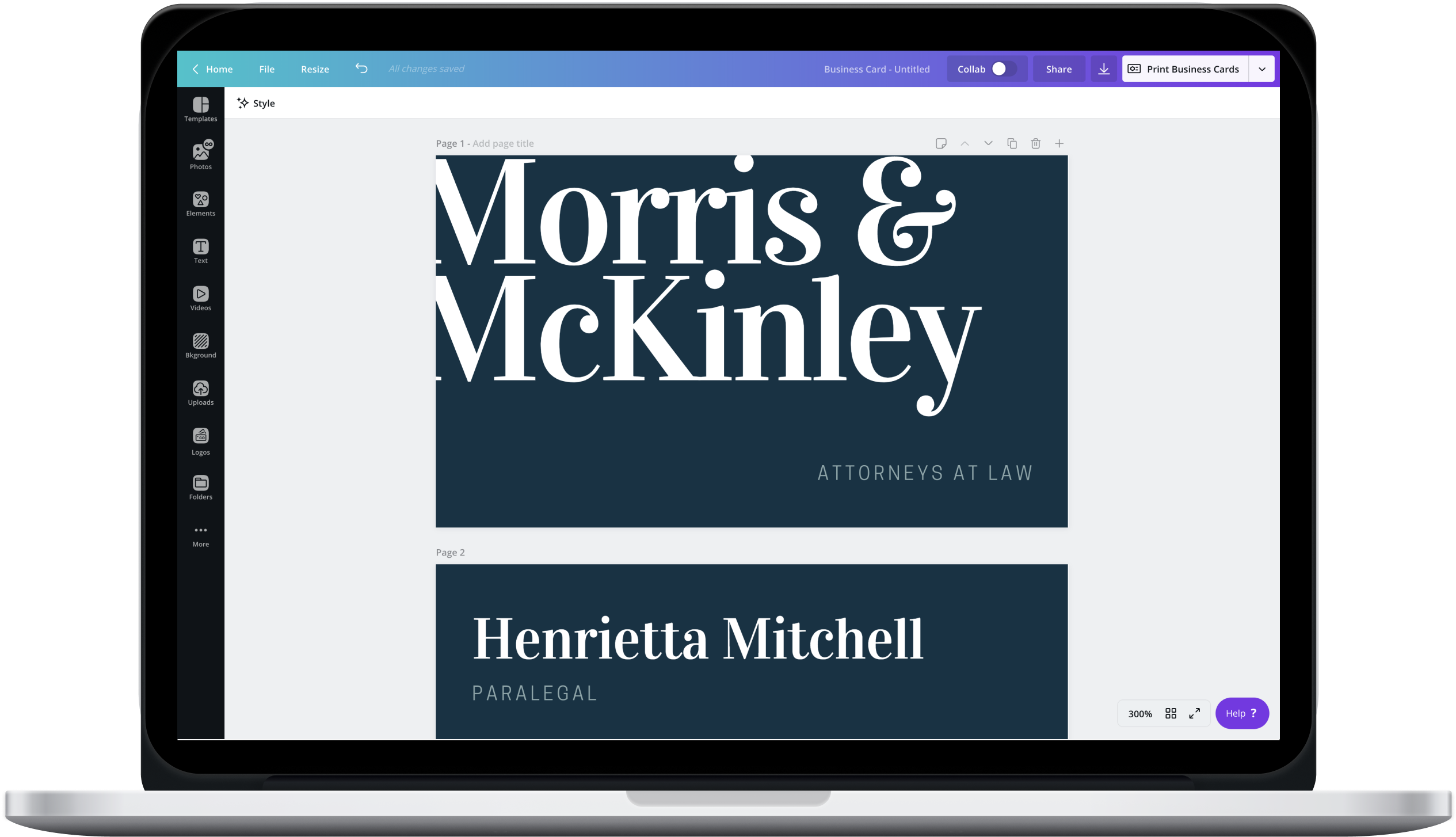 Canva editor showing blue business card design