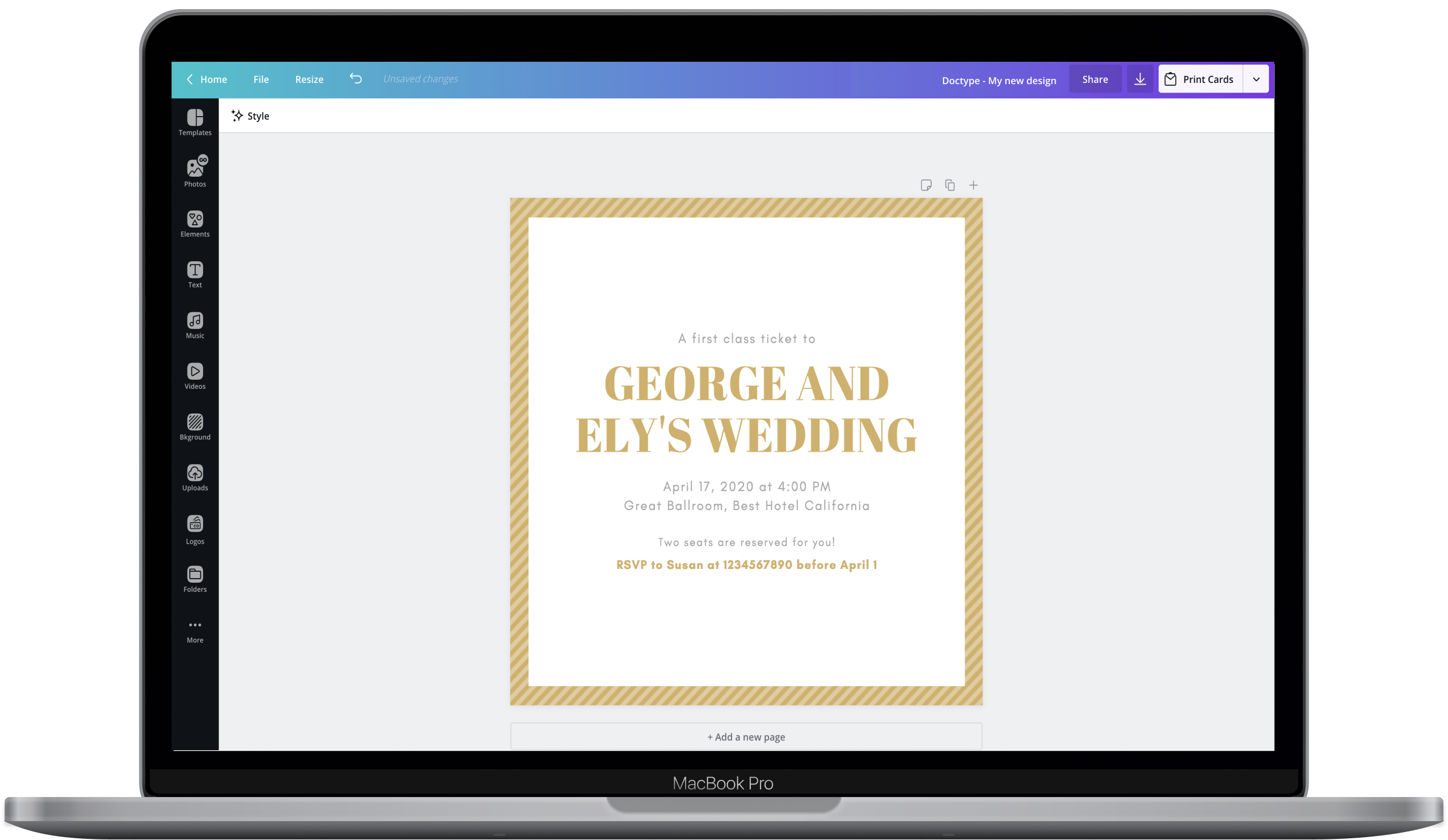Canva editor showing a wedding invitation