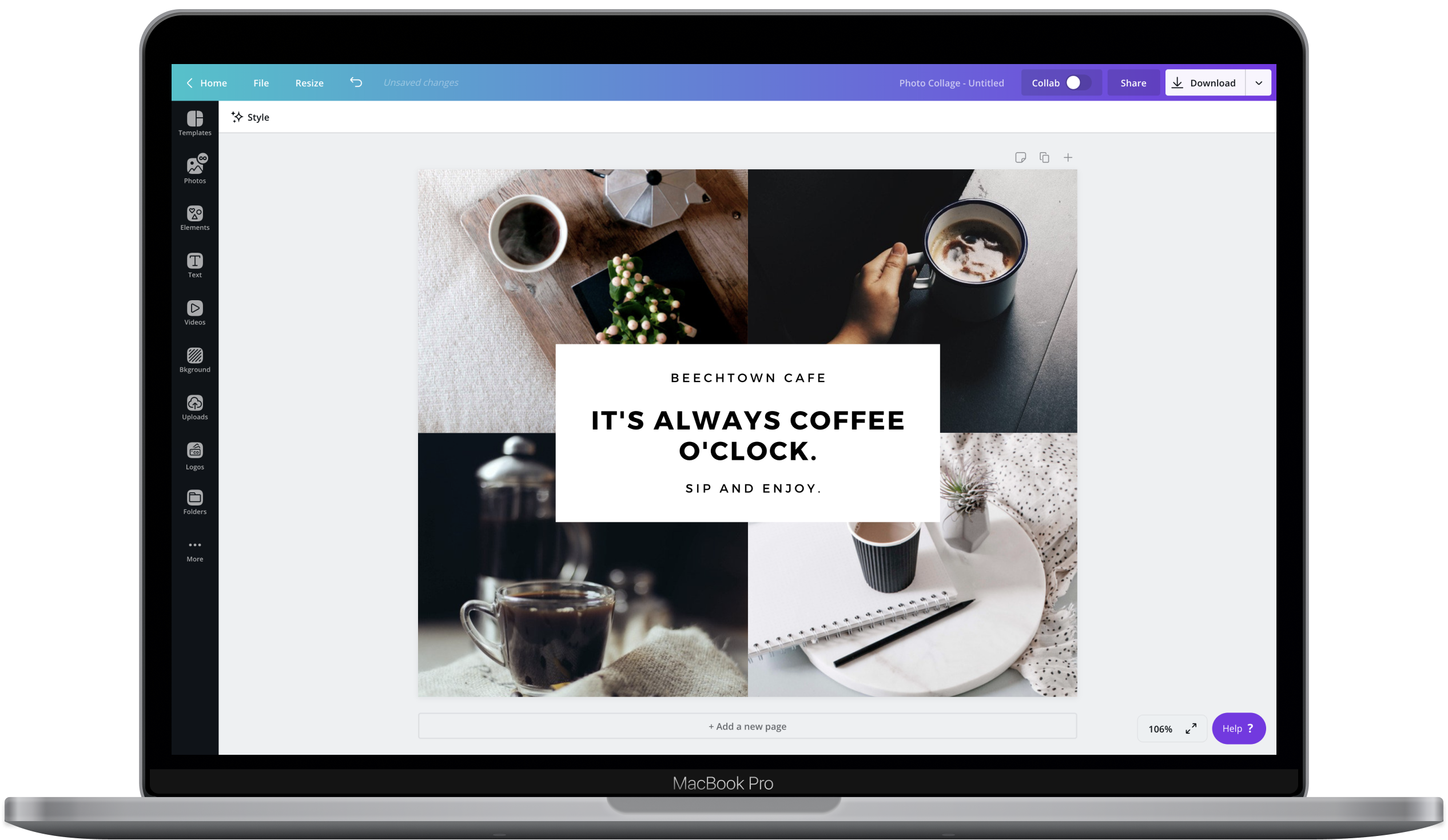 Canva editor showing photo collage design