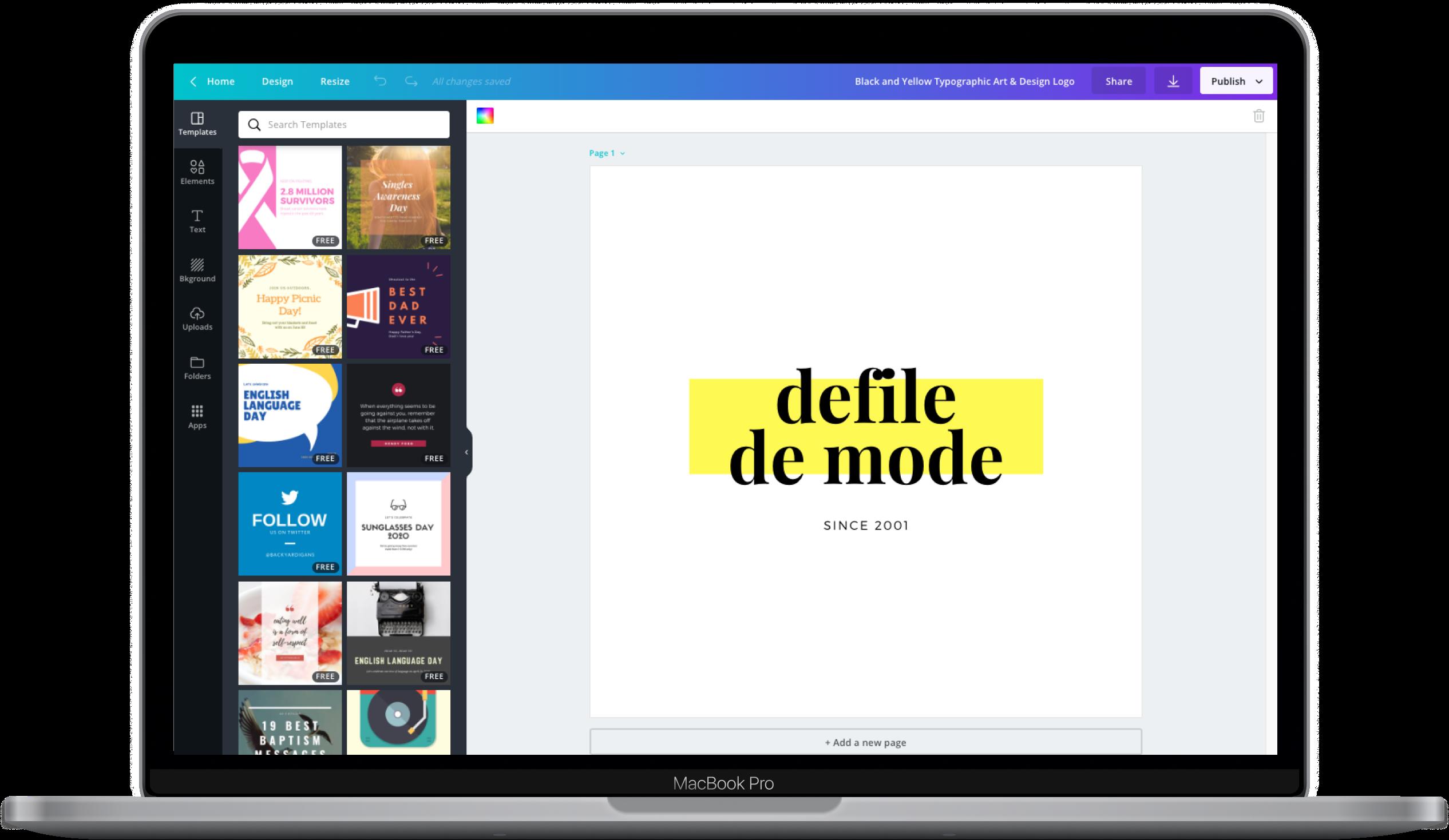 Canva editor showing a logo design
