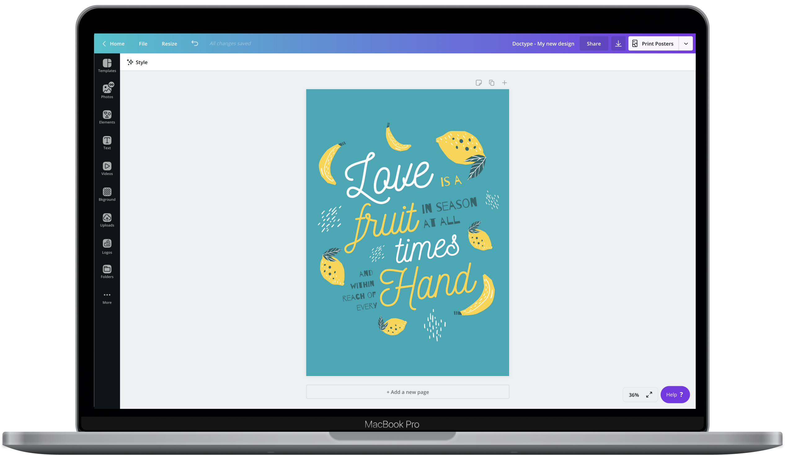 Canva editor showing a poster design