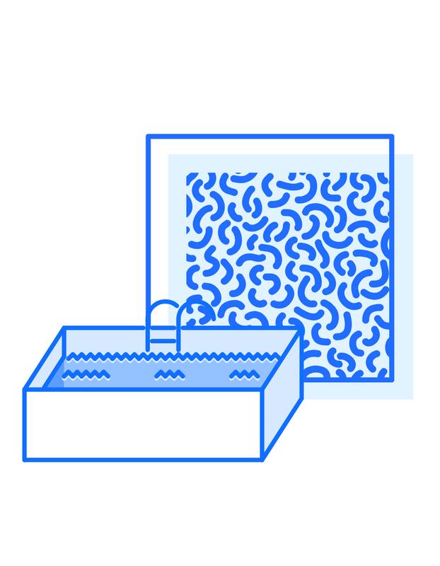 T-shirtmall för simklubb med blå geometriska former