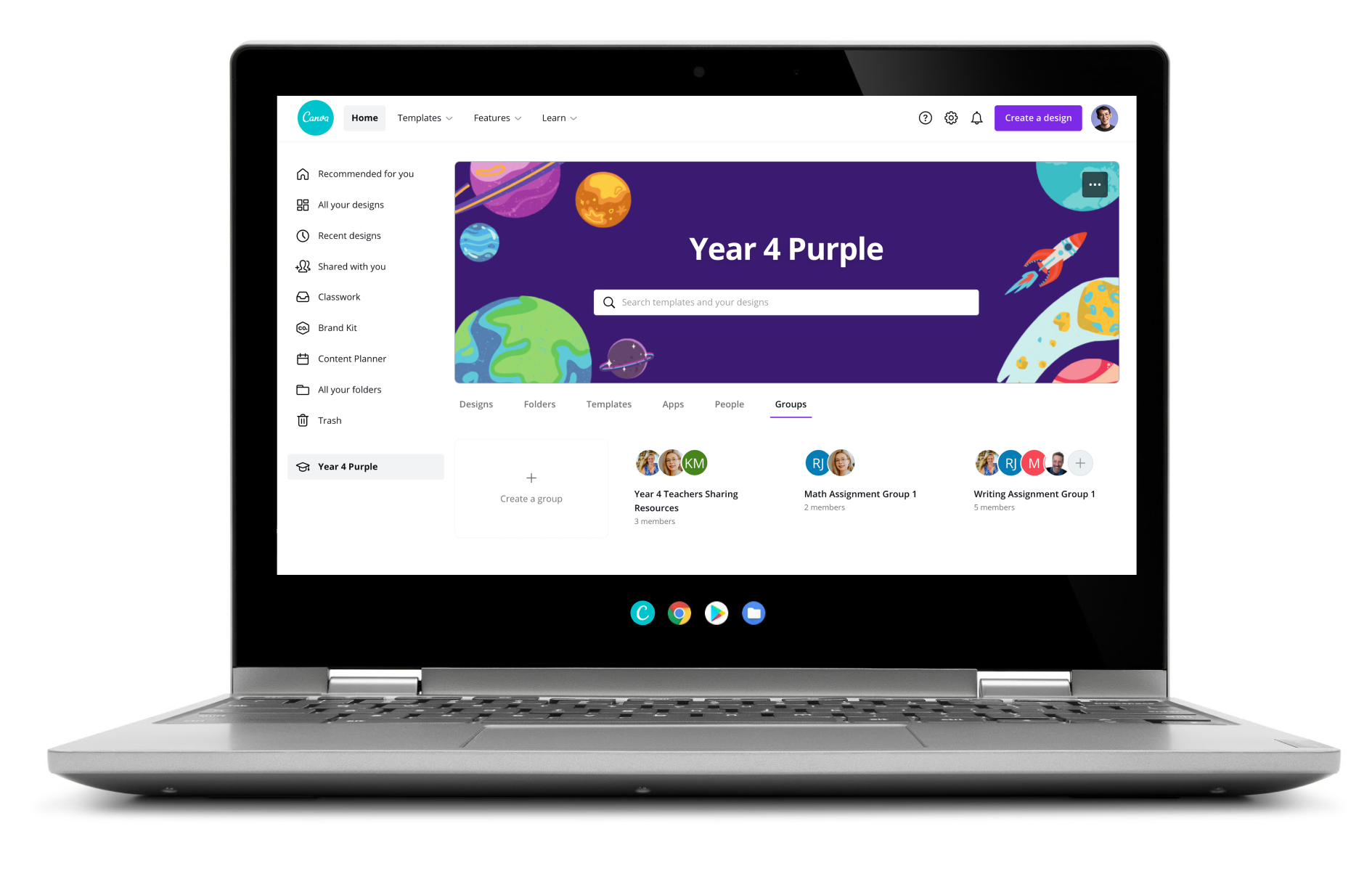 Canva-Editor auf dem iPad – Design für ein Schulposter