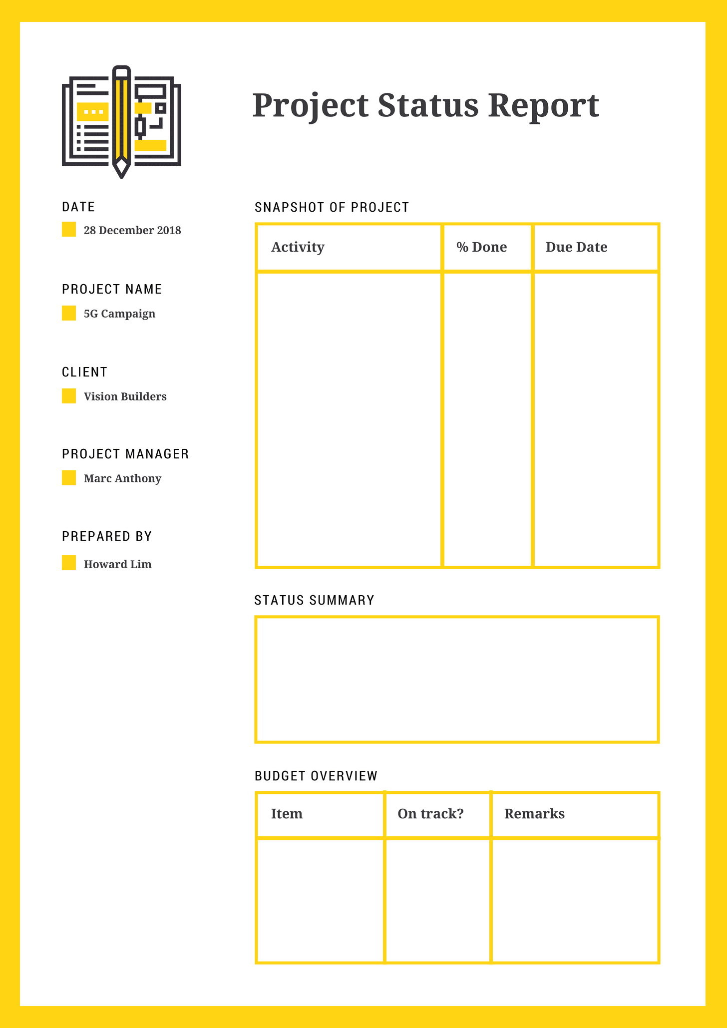 Yellow and White Table Project Status Report