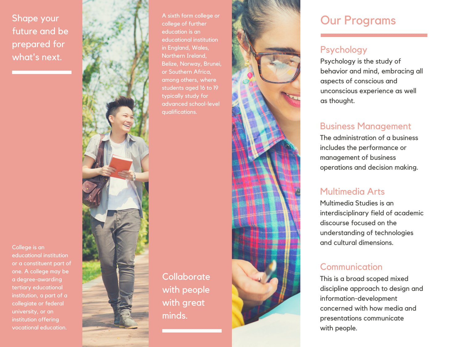 Pink with Photos College Trifold Brochure 1