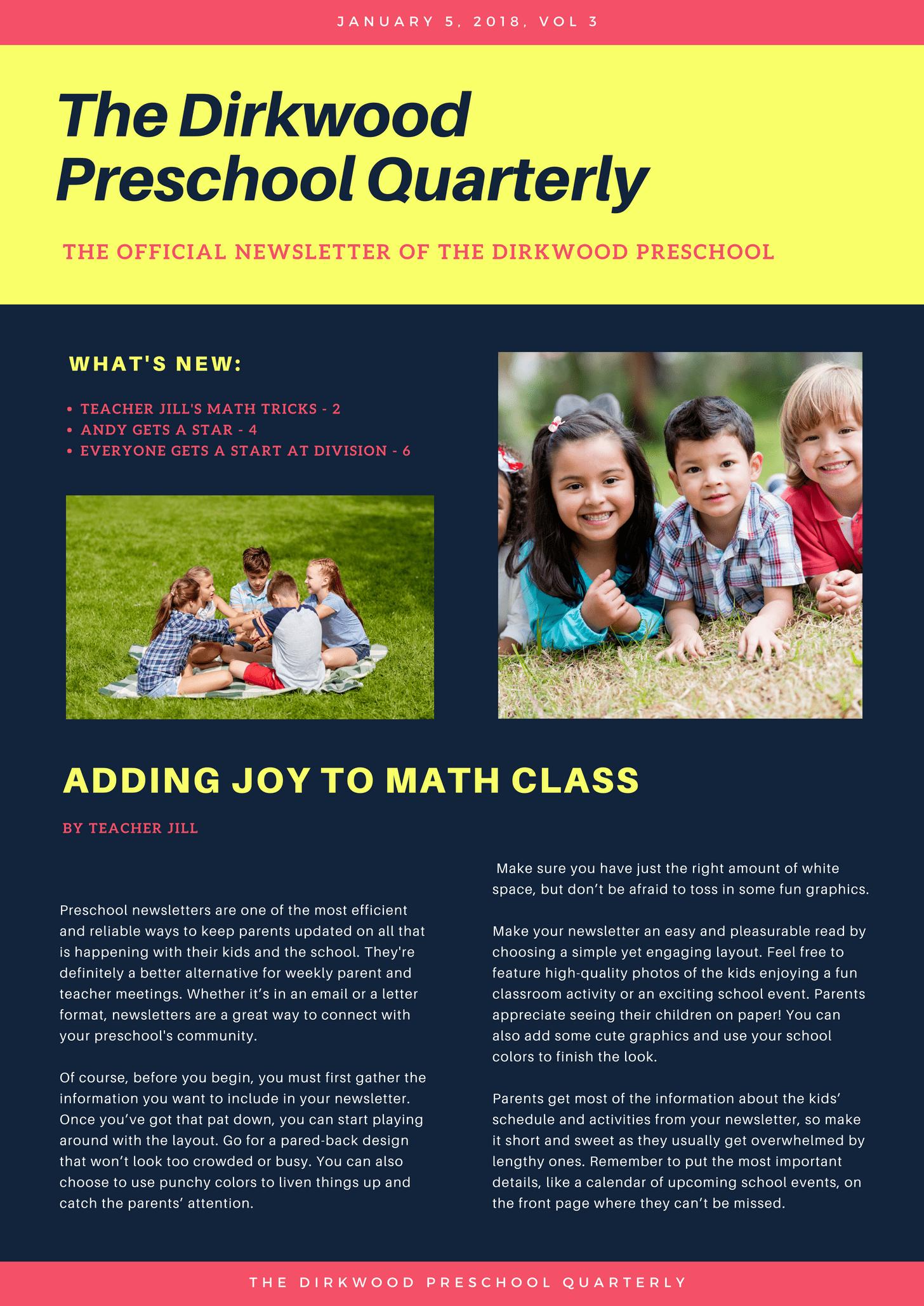 Simple Colorful Preschool School Newsletter