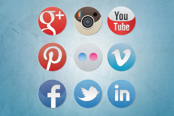Social Media Icons - Diagonal (Premium)