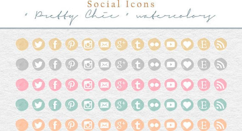 Social Media Icons - PNG + PSD Files - Pretty Chic Watercolor (Premium)