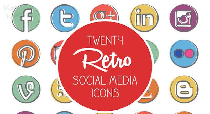 Retro Social Media Icons (Premium)
