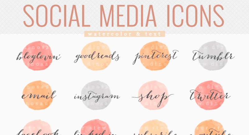 Social media icons - watercolor text (Premium)
