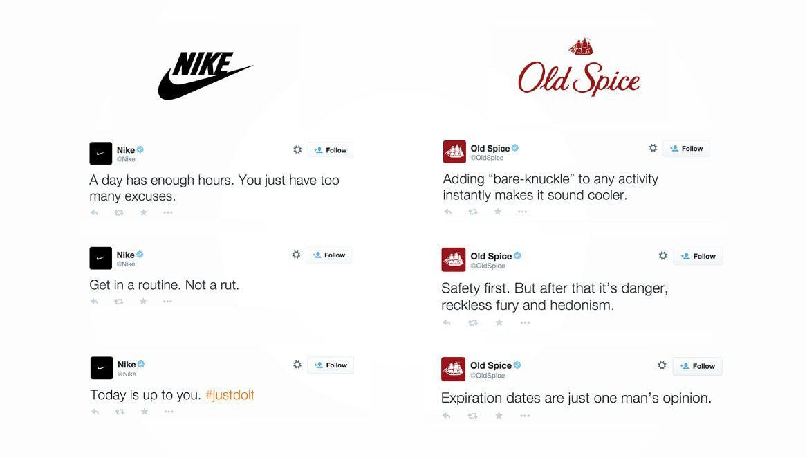 A comparison of Nike and Old Spice's social media tone. Develop a tone that not only complements your brand but enhances it.