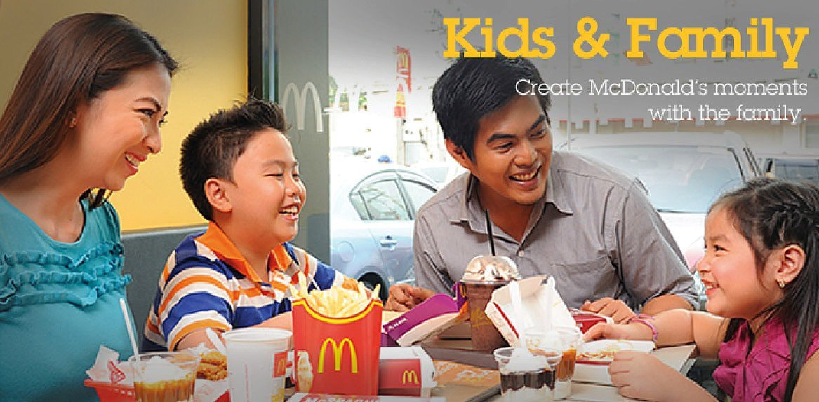 McDonalds brands itself beyond fast and tasty food to the point where they are the go-to place for happy families.