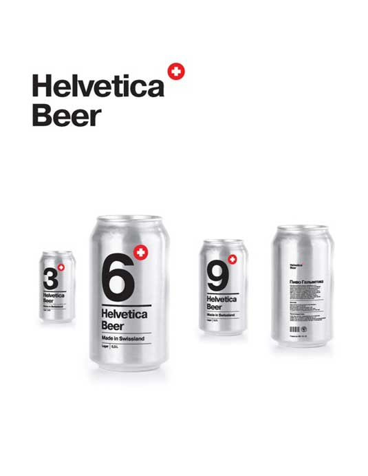 creative packaging ideas, Helevetica Beer, interesting modern font