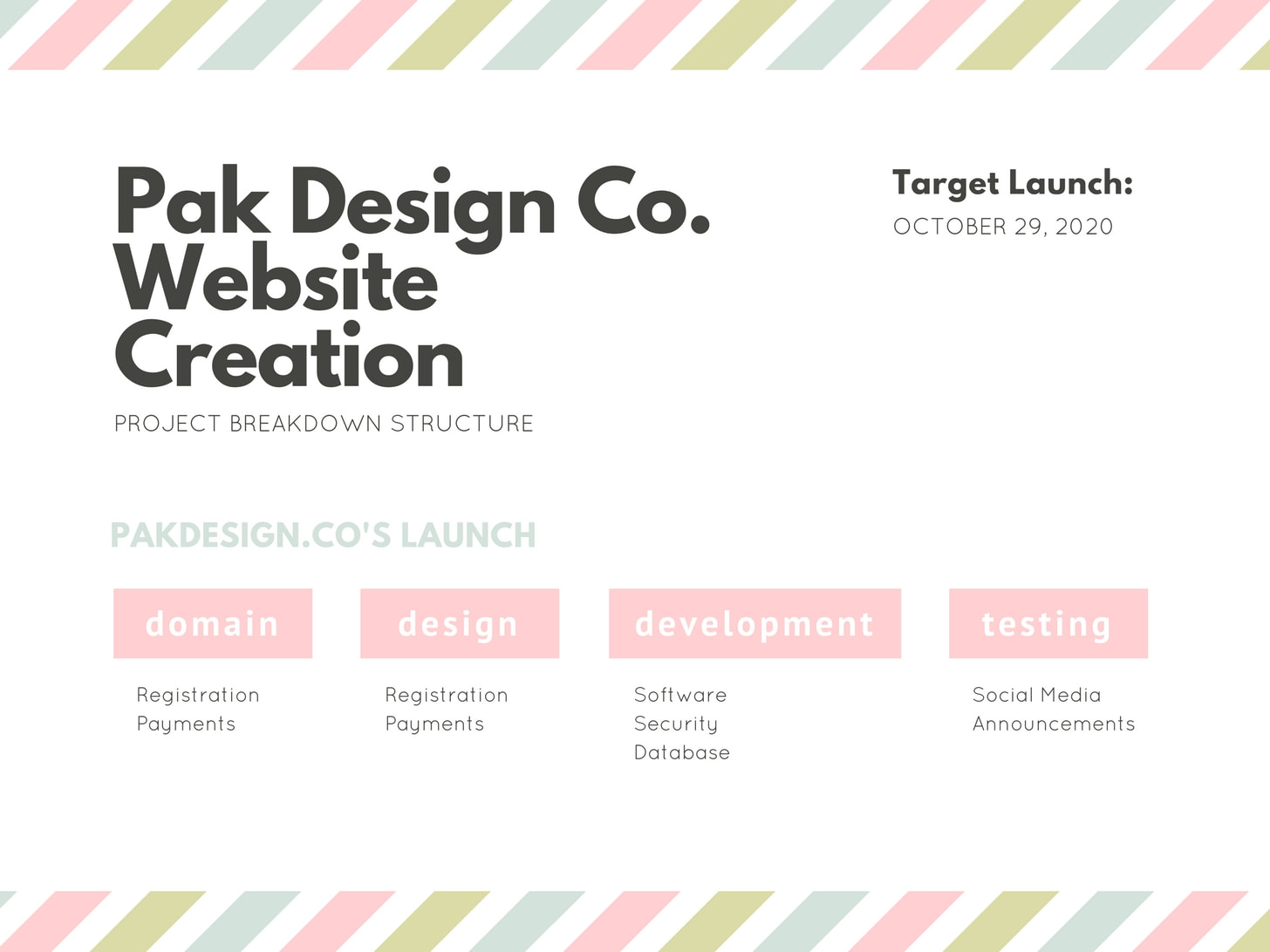 White with Pastel Stripes Work Breakdown Structure