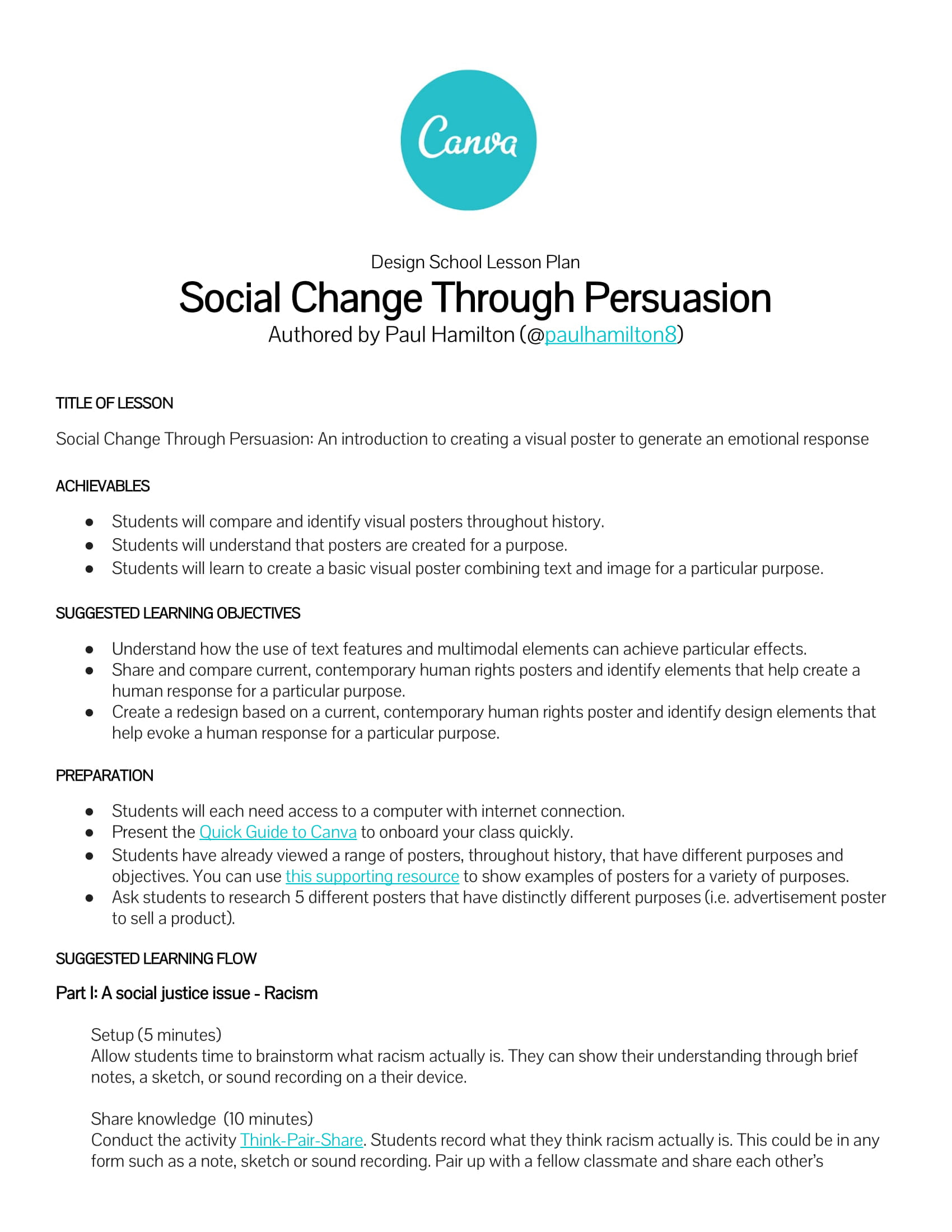 Social Change Through Persuasion lesson plan