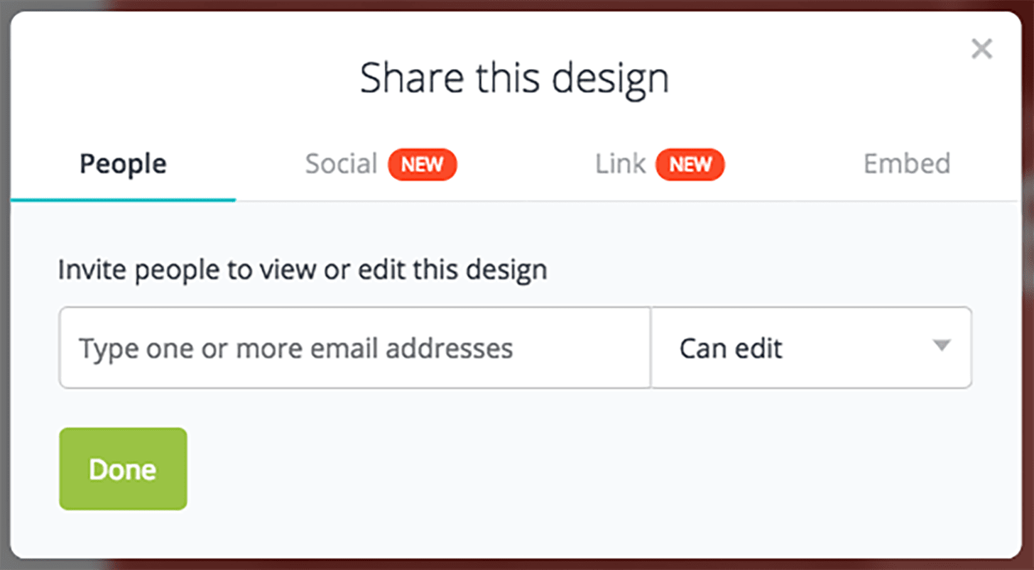 Canva share design with team
