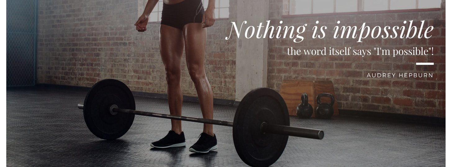 Woman in Gym Photo Women's Fitness Quote Facebook Cover