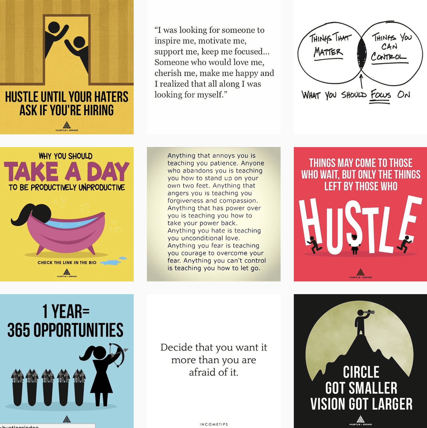 Hustle and Grind Instagram feed