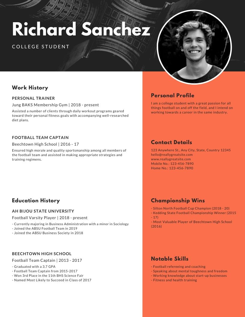 How To Make A Resume For First Job Canva