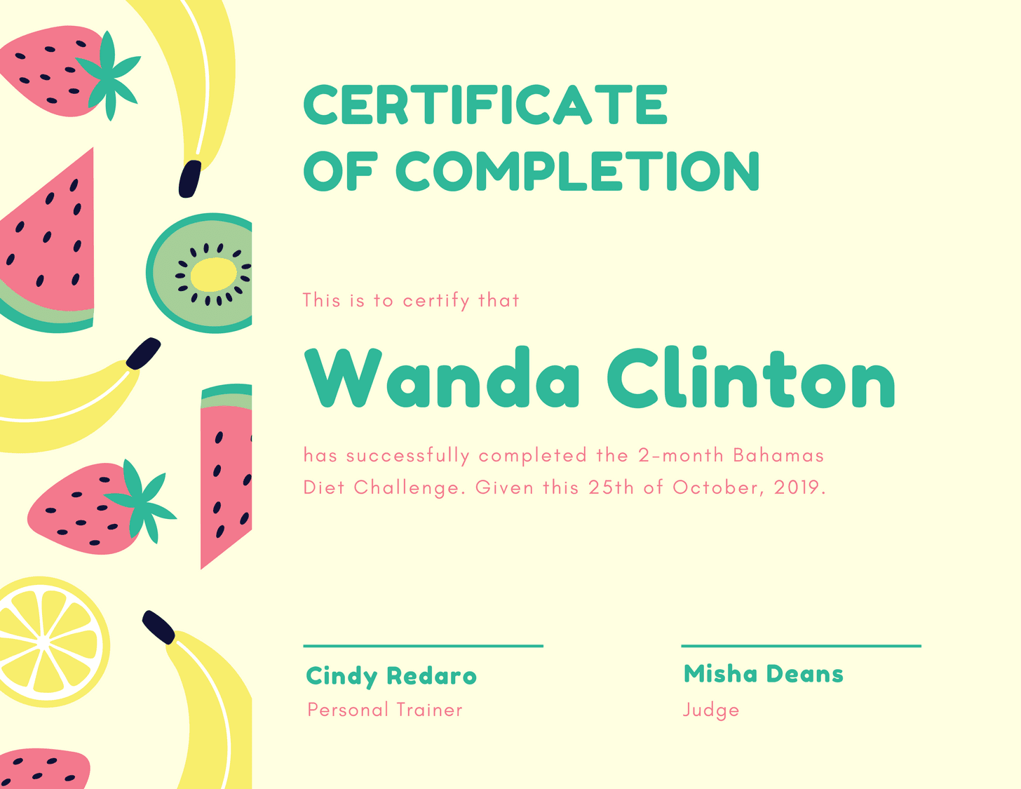 Pink and Green Fruits Completion Certificate