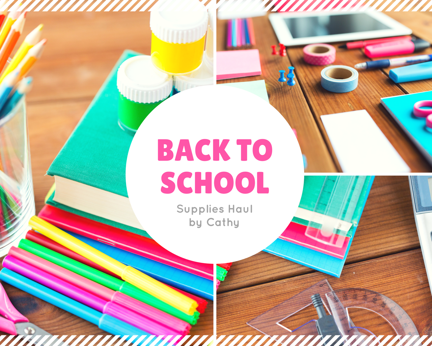Stripe Bordered Back to School Haul Photo Collage