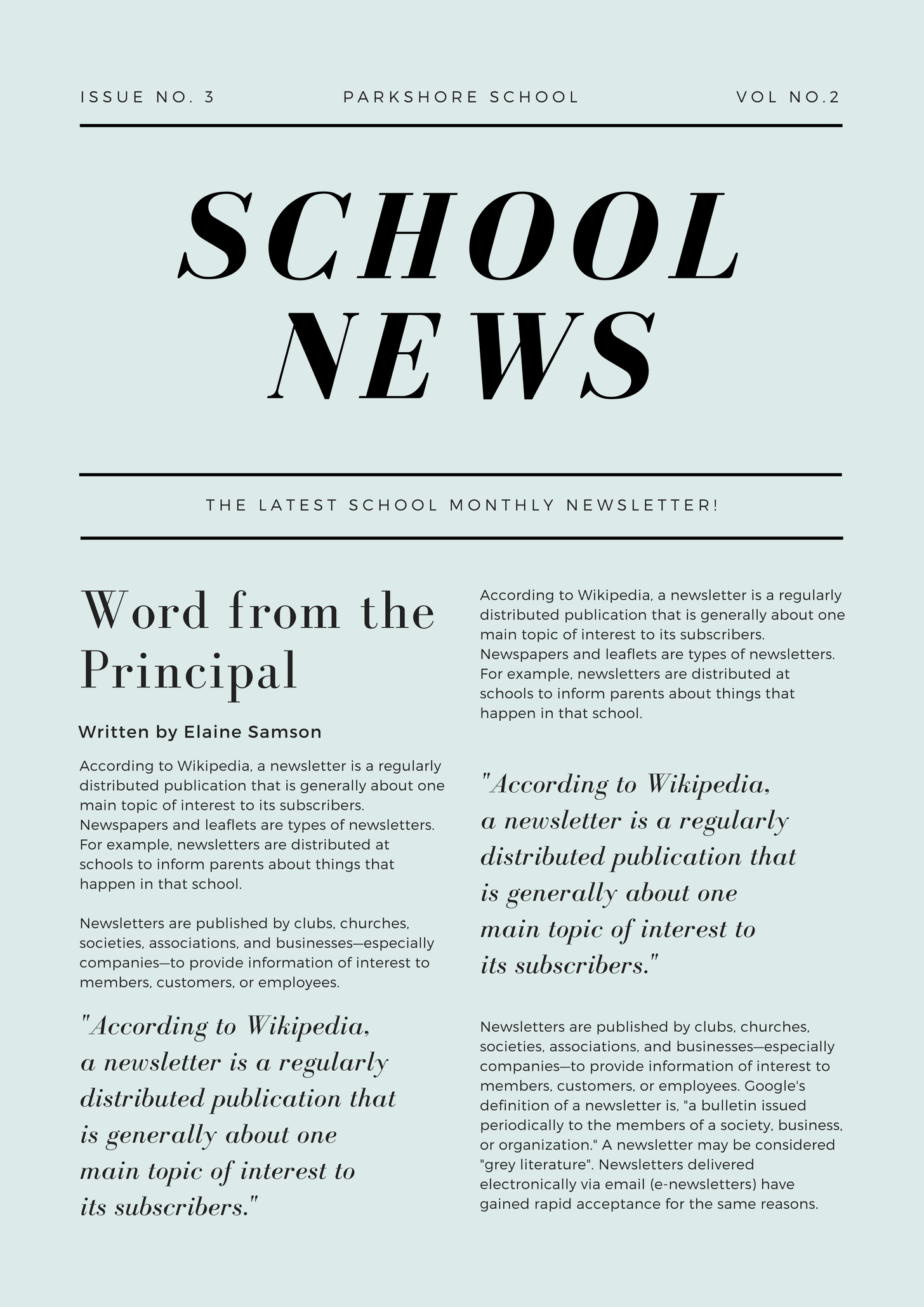 Green Simple Article School Newsletter