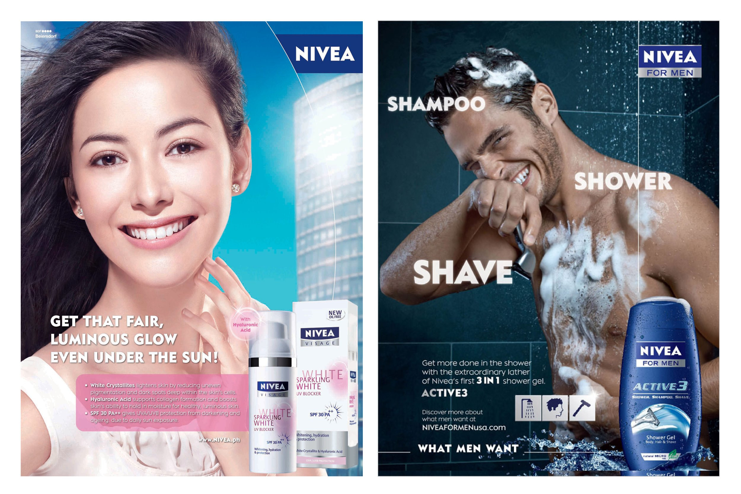Nivea manages to maintain a distinct brand while still creating unique and tailored sub-brands to appeal to both women and men. Images via Nikoganda and The New York Times