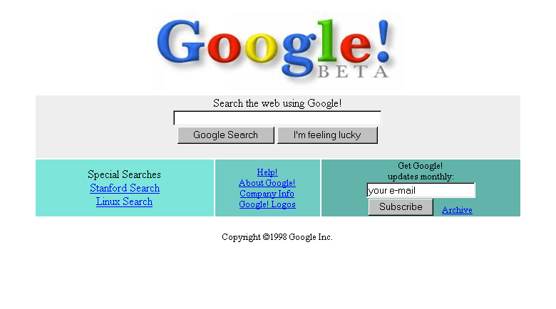 Google, back in 1998. As shocking as the differences may be, also take into account how similar the layout is to today's Google.
