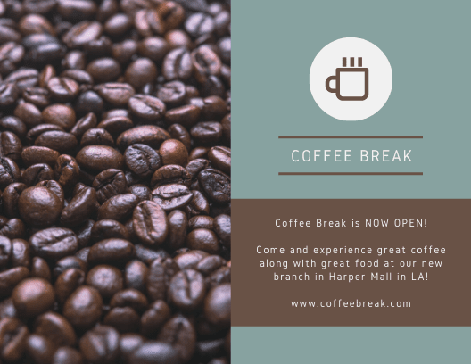 Print Coffee Break Blue and Brown Direct Mail Postcard