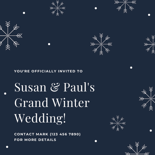 Print Winter Wedding Invitations - Dark Grey Snowflakes Winter Wedding Invitation