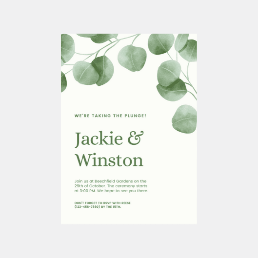 Print Rustic Wedding Invitation - Green Leaves Rustic Floral Wedding Invitation