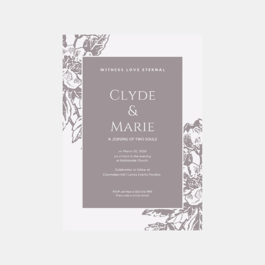 Print Vintage Wedding Invitation - Grey Bordered Vintage Illustration Wedding Invitation
