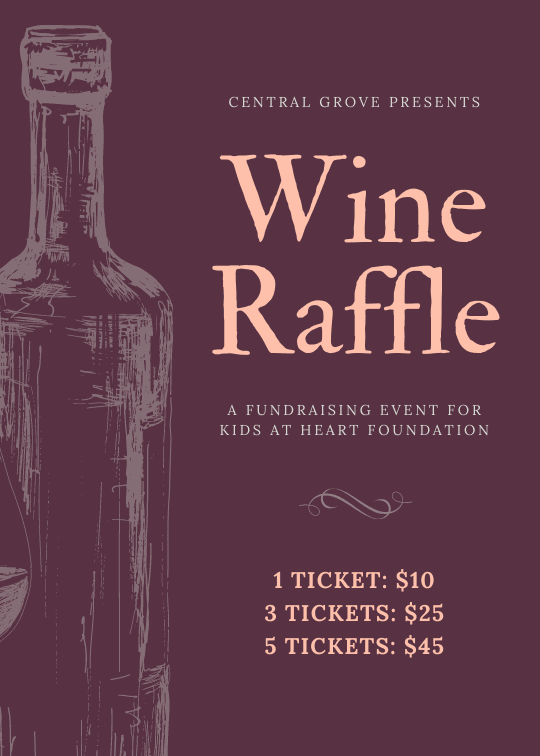 Print fundraising flyers - Handdrawn Wine Bottle Fundraiser Raffle Flyer