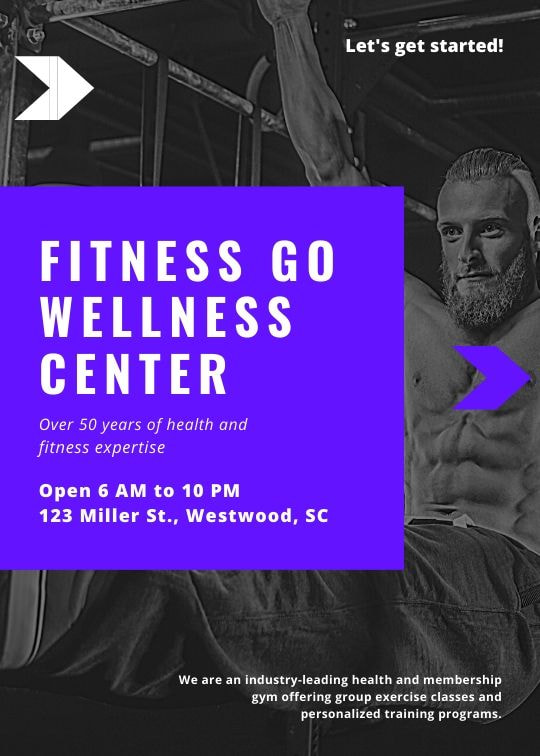 Print fitness flyers - Blue Geometric Fitness Flyer