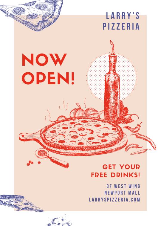Print restaurant flyers - Hand Drawn Pizza Restaurant Flyer