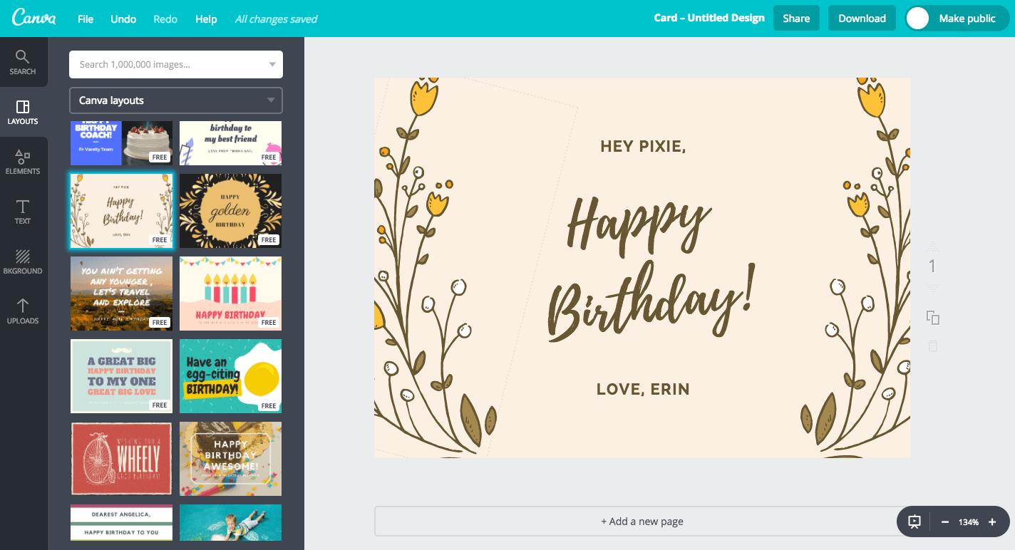 Desain Kartu Ucapan Ulang Tahun Online, Gratis - Canva