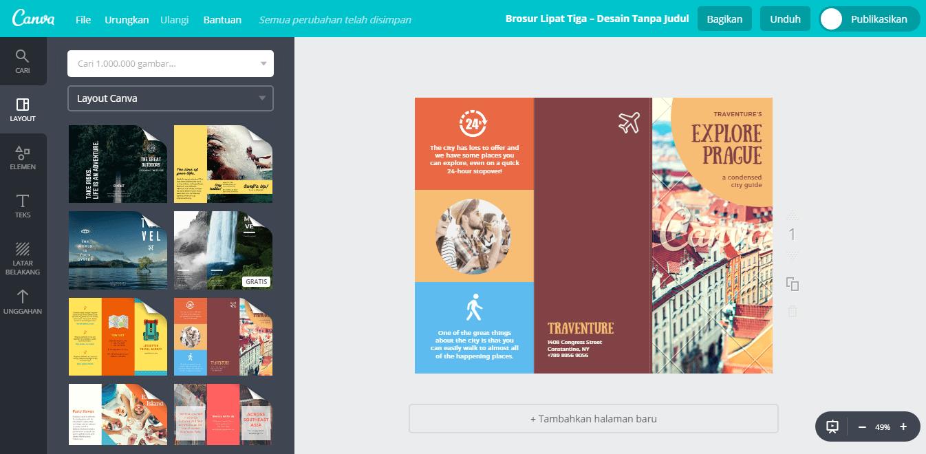 buat desain brosur travel keren tanpa