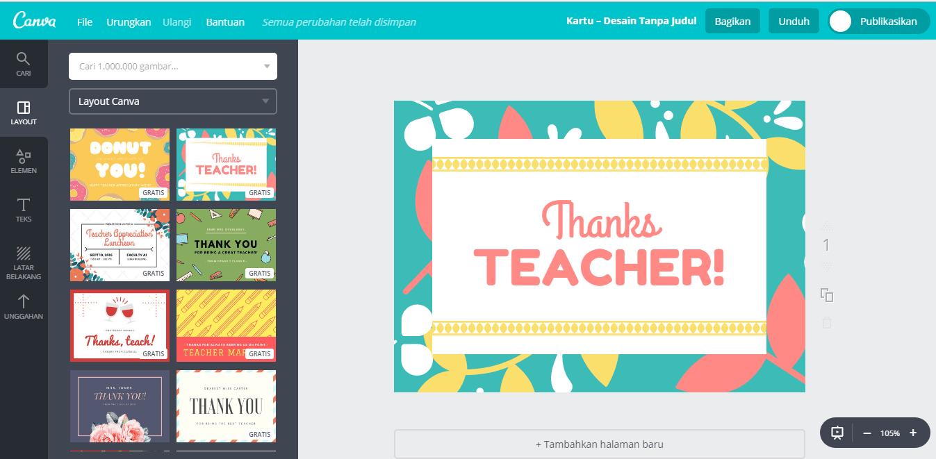 Desain Kartu Ucapan Hari Guru secara Online - Canva